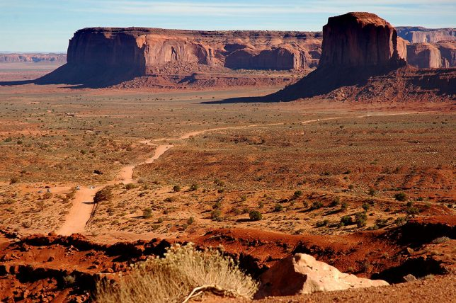 Abby's image shot from the Mittens Overlook shows the road into the Monument Valley Tribal Park.