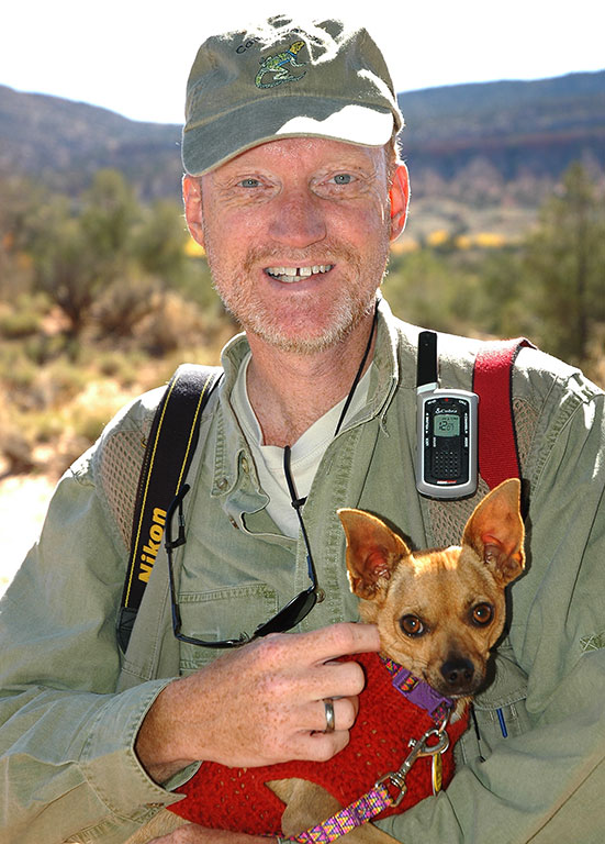 Your host holds Max the Chihuahua on the Butler Wash trail.