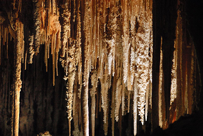 "This is the often-photographed formation at Carlsbad Caverns called ""The Soda Straws."""