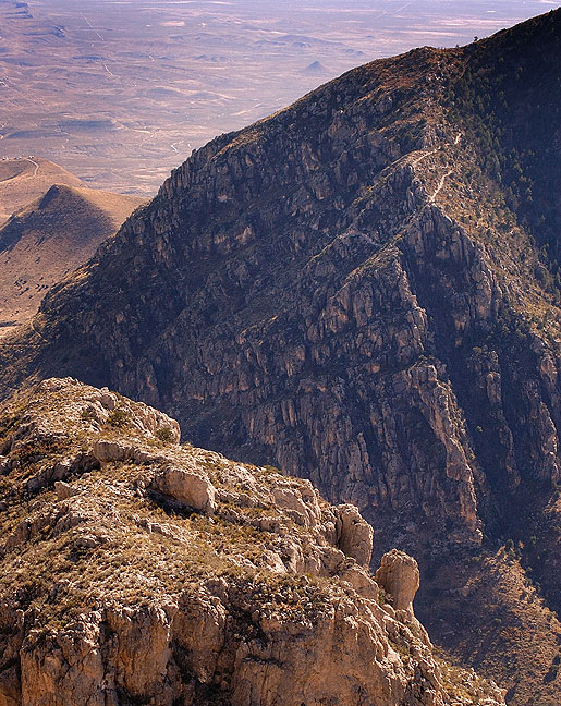 One really neat thing about this image from Hunter Peak is that you can see the trace of the Guadalupe Peak trail on the edge of the mountain on the right. I hiked it in 2003, and found it challenging and fun.