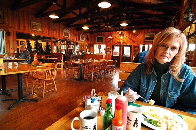 Abby has breakfast at M D Ranch Cookhouse