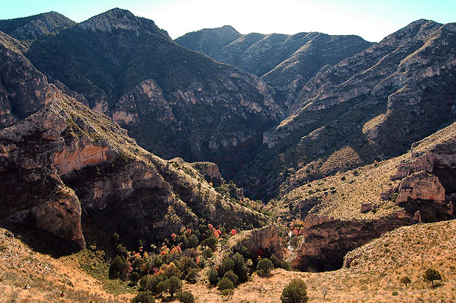Made from the Permian Reef trail, this image emphasizes the rugged majesty of the Guadalupe Mountains.