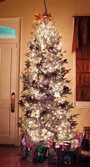Nicole's Christmas tree fills her living room with light and holiday cheer on Christmas Eve 2006.