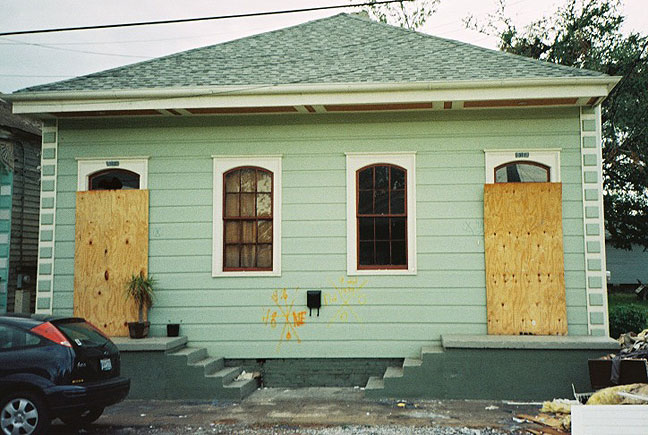 This is the exterior of Nicole's house in early October 2005, on an occasion when she was able to visit it, but prior to the start of repairs.