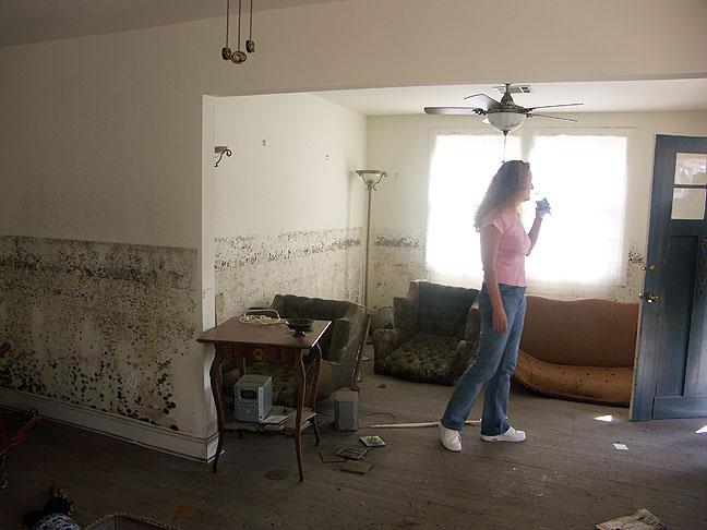 Nicole inspects her home as repair work begins.