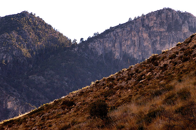 This view on the Tejas trail looks southwest into the heart of the Guadalupe Mountains.