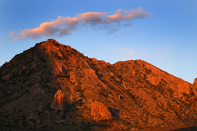 Sunset, Chisos basin, Big Bend National Park.