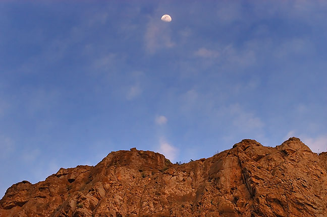 Cliff and moon, Boquillas Canyon, Big Bend.