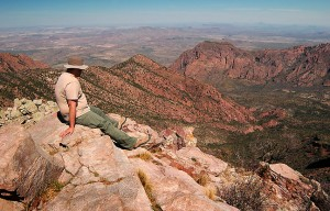 David sits atop Emory Peak, the high point of Big Bend; the last eighth of a mile is strictly boulder-climbing.
