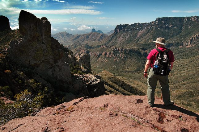 David Martin hikes the Lost Mine trail in the Chisos Mountains of Big Bend National Park, Texas.