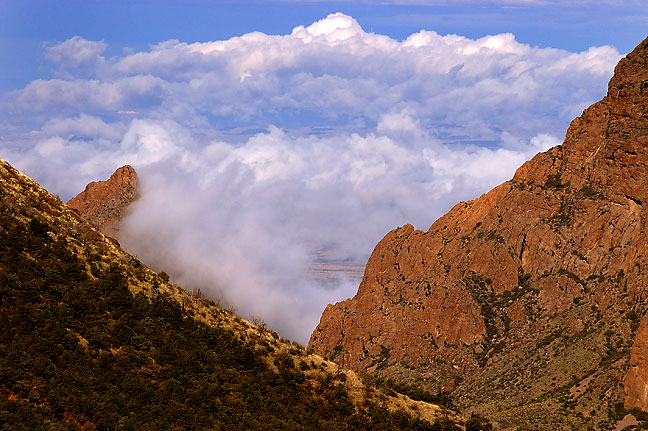 Clouds below Chisos mountains, morning, Lost Mine trail, Big Bend National Park.