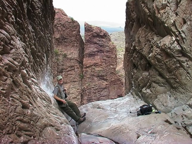 Your host poses for an image at the end of The Window trail at Big Bend National Park.