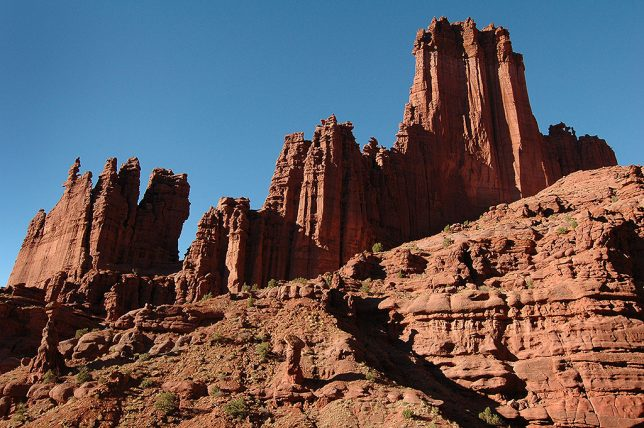 Fisher Towers stands in handsome afternoon light.