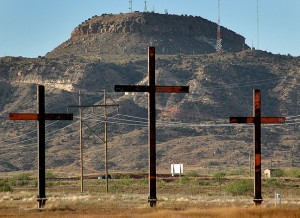 These three crosses are situated in an open field along Tucumcari Boulevard. I was even able to find them on Google Maps. In the distance across I-40 is Tucumcari Mountain.