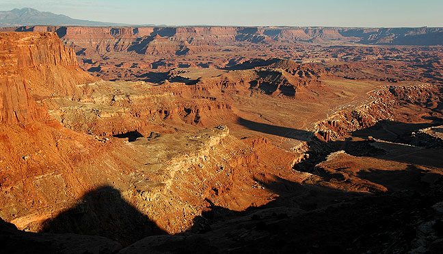 This overview from Canyonlands' Lathrop Trail looks southeast toward Hatch Point.