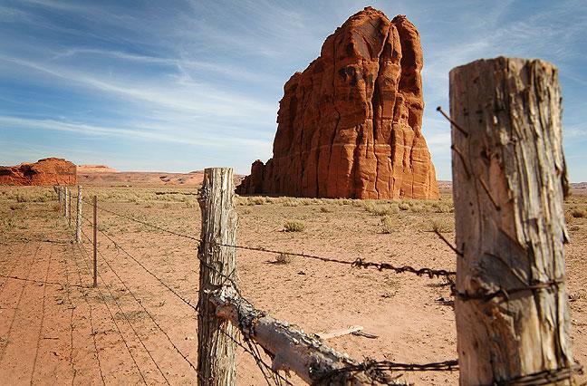 Fence and pinnacle, U. S. 64, northern Arizona.
