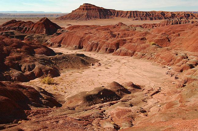 Red earth badlands, U. S. 191, northern Arizona.