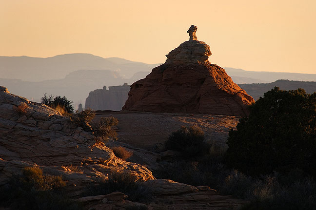 Last light on sandstone pinnacles, Lathrop trail, Canyonlands.
