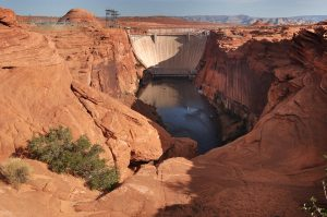 This view looks upsteam toward the Glen Canyon Dam.