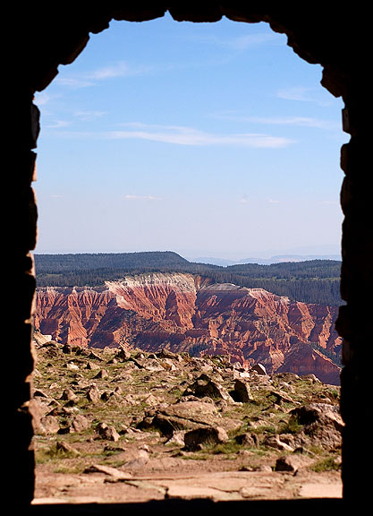 View from inside the shelter house showing Cedar Breaks National Monument in the distance.