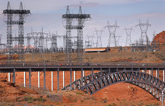 Power lines and highway bridge, Glen Canyon Dam.