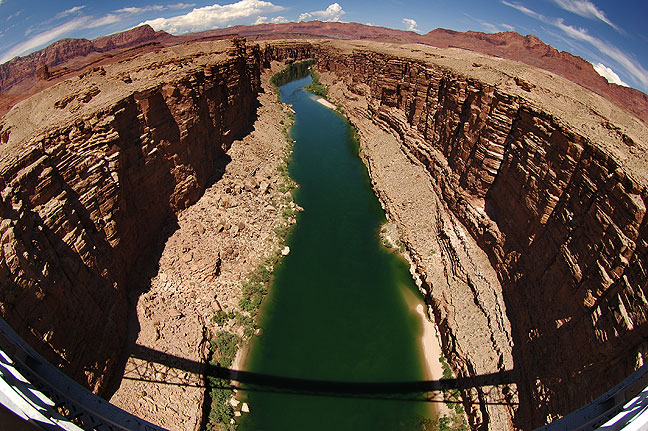 Fisheye view of Marble Canyon of the Colorado from Navajo Bridge.