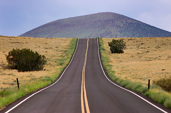 Cinder cone and road, northern Arizona.