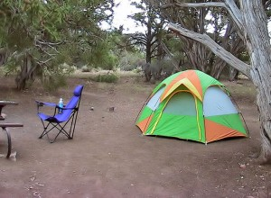 My camp site at Black Canyon of the Gunnison's north rim; a tent provides little warmth, but it does keep the critters and the rain out. I have been rained on in the desert on a number of occasions.