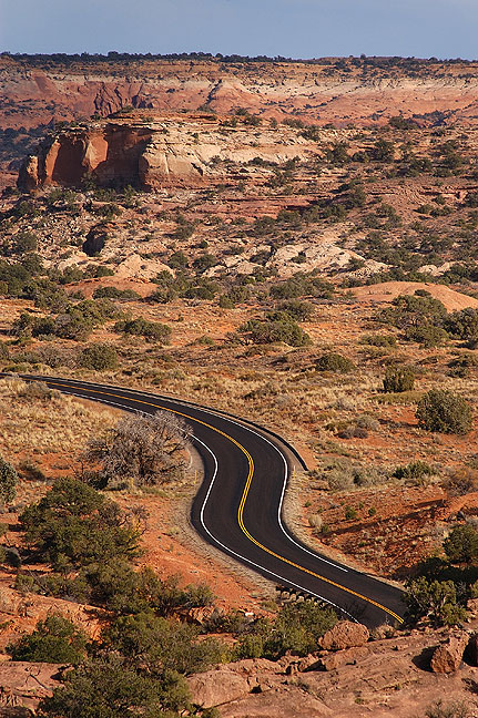 Winding park road, Canyonlands.
