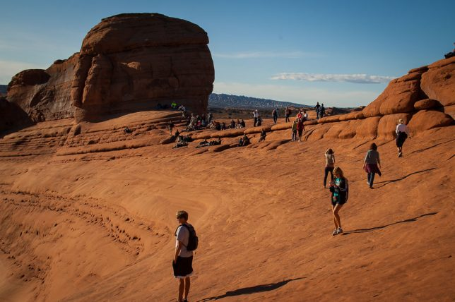 Abby photographed some of the visitors gathered at Delicate Arch. It was a beautiful day, so the crowds were no surprise.