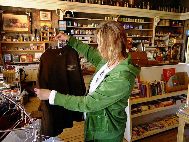 Abby shops at the rustic Bedrock, Colorado general store.