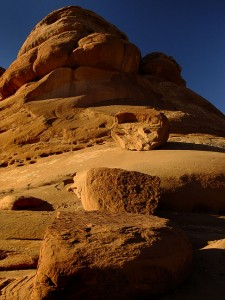 Sandstone pinnacle in warm, late-afternoon sun.