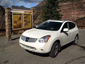 Our Nissan Rogue at the Ouray, Colorado overlook