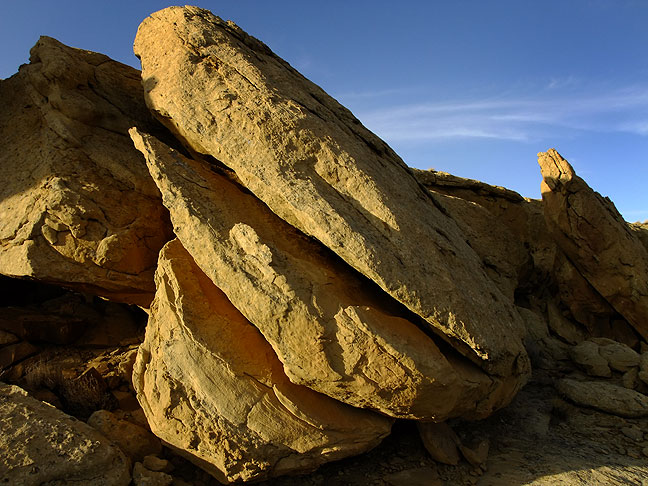 Split boulders in evening light, common to the stone landscape of Chaco.