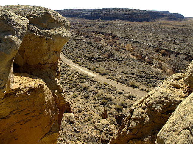 This view from near the top of the crack shows the trail, Chaco Wash, and the edge of the Kin Kletsin great house.