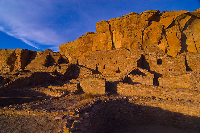 This plaza view looks east with the Chaco Canyon wall in the distance.