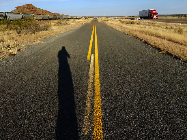 Self portrait on the road, somewhere in New Mexico