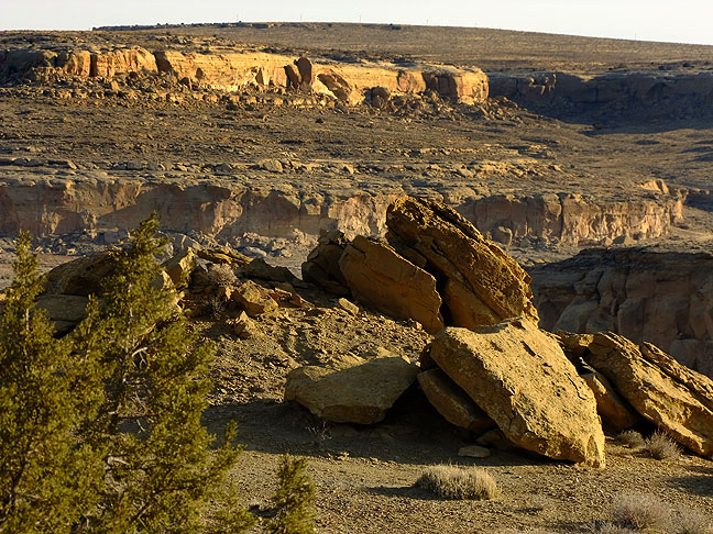 Shot from near the top of South Mesa switchbacks, this view looks across Chaco Canyon.