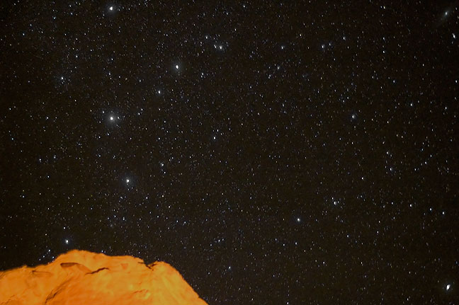 Star field from Gallo Campground; the orange light on the cliff face is from my camp fire.
