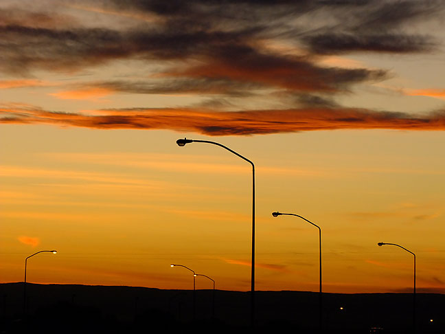 Sunset on Interstate 40 near Clines Corners, New Mexico.