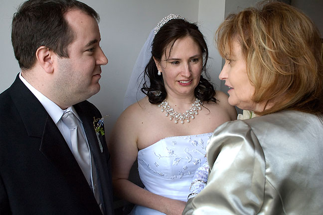 Tom, Chele and Abby in the receiving line after the wedding ceremony