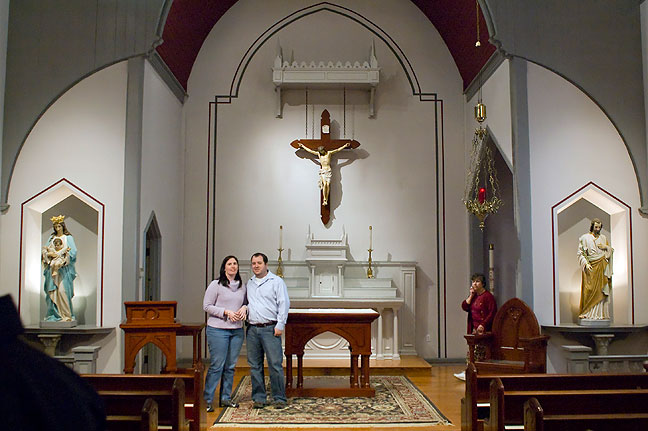 Chele and Tom at the church for rehearsal