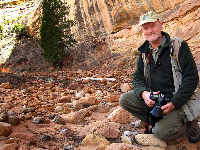 Smiling for my wife Abby as I hike White Canyon; even when she can't be with me, she is with me.