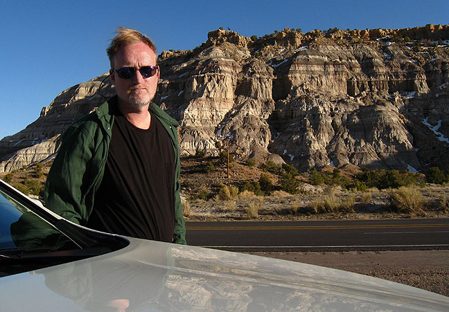 Looking very serious as I drive U. S. 550 in northwest New Mexico.