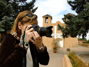 Abby photographs the famous San Francisco de Asis Mission in Taos, New Mexico, which Ansel Adams photographed many times during his life.