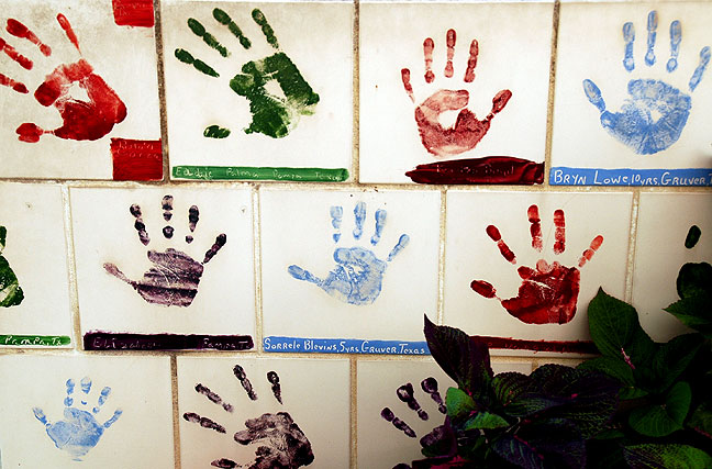 Hand prints in the children's section (Photo by Abby S. M. Barron).