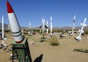 This is the White Sands Missile Park at the entrance to White Sands Missile Range, New Mexico.