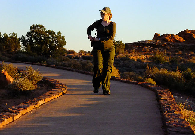 Abby walks the short trail at Balanced Rock, looking for images.