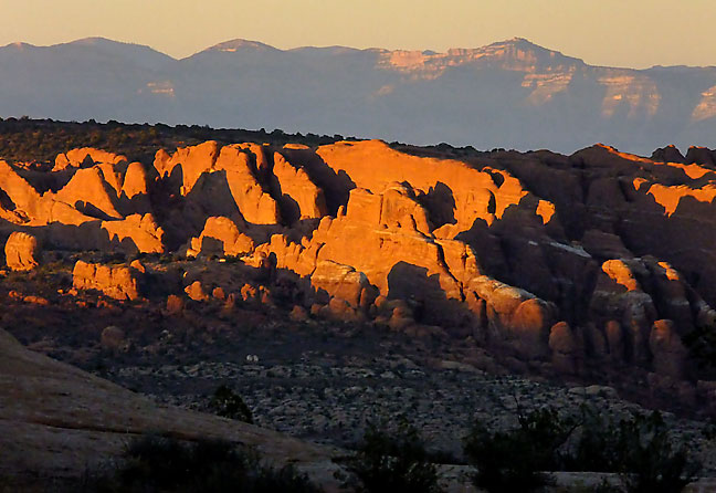 Looking north from Balanced Rock showing the Fiery Furnace.