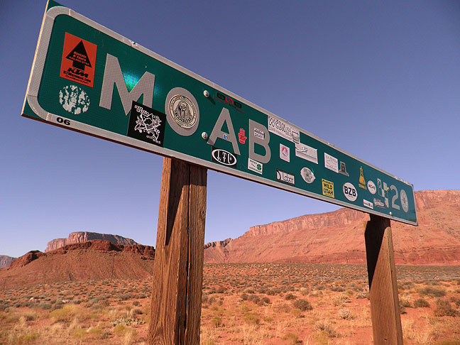 Sign on Utah 128, 20 miles from Moab.